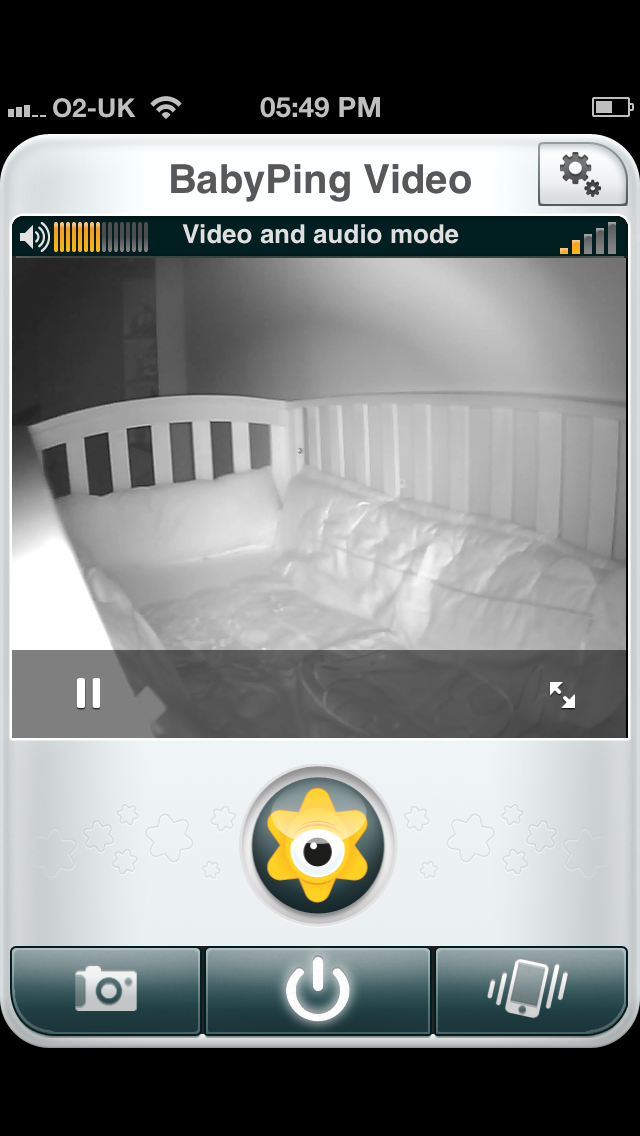 BabyPing video feed with lights off