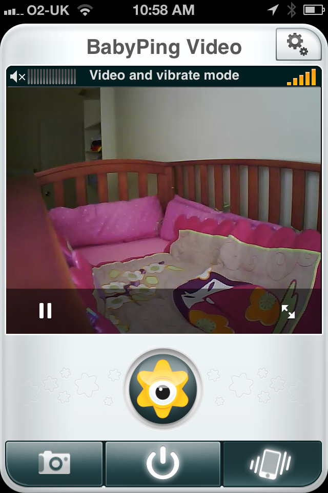 BabyPing video feed with lights on
